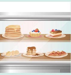 Glass showcase of cafe or bakery shop with various vector