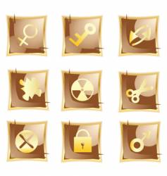 gold icons vector image