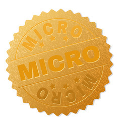 gold micro medal stamp vector image