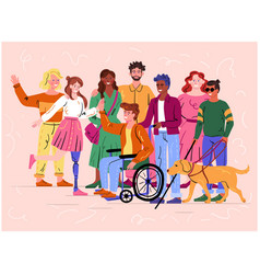 Group diverse disabled people and guide dog vector