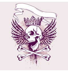grunge skull apparel design vector image