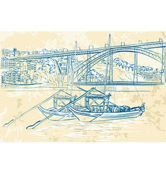 Hand drawn sketch of boats docked vector