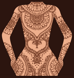 hand drawn sketch of henna pattern vector image