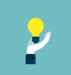 hand holding bulb idea flat design vector image