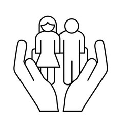 Hands lifting grandparents couple avatars line vector
