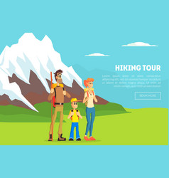 hiking tour banner template happy family vector image