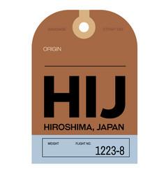 Hiroshima airport luggage tag vector