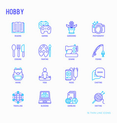 Hobthin line icons set vector