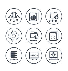 Hosting networks ftp servers line icons set vector
