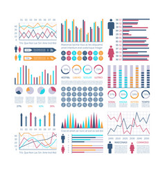 infographic charts financial flow chart trends vector image