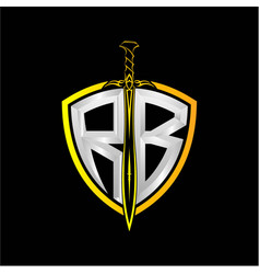 Initials r b is a shield decorated vector