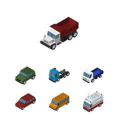 Isometric car set of armored lorry freight and vector