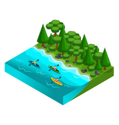 Isometric landscape of rest friends on weekends vector