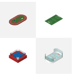 Isometric lifestyle set of run stadium fighting vector