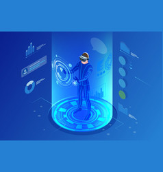 Isometric virtual reality concept man wearing vector