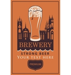Label beer with glass vector