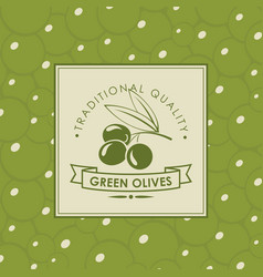 Label for green olives with olive twig vector