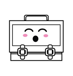 Line kawaii cute funny suitcase design vector
