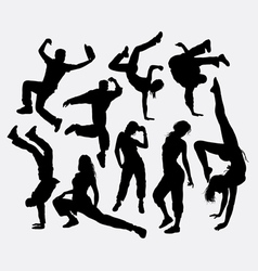 Male and female party dancing pose silhouette vector image