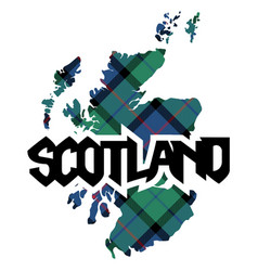 Map and name of scotland texture of tartan plaid vector