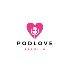 Mic love podcast logo icon vector