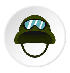 Military metal helmet icon circle vector