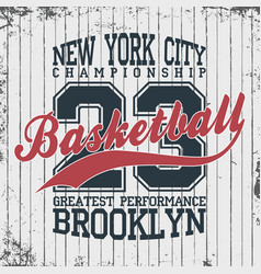 new york basketball sportswear emblem basketball vector image