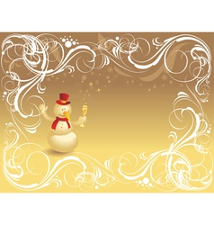 Ornate background with snowman vector