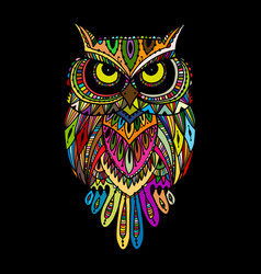Ornate owl zenart for your design vector