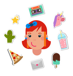 patch badges with cute girl head smiling vector image