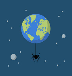 planet earth with spider vector image