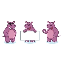 Purple Hippo Mascot happy vector