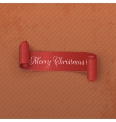 Realistic scroll red Christmas Label on cardboard vector image