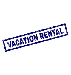 Rectangle scratched vacation rental stamp vector