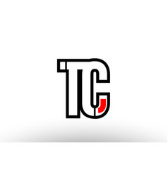Red and black alphabet letter tc t c logo vector