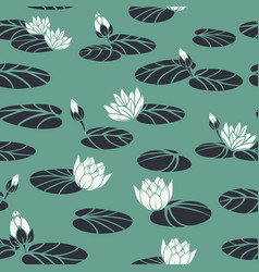 Retro water lilies in swan pond seamless vector