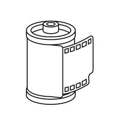 Roll camera nineties retro line style icon vector