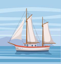 Sailing ship in sea on seascape vector