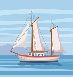 Sailing ship in the sea on seascape vector