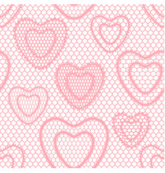 Seamless lace pattern with hearts vintage textile vector