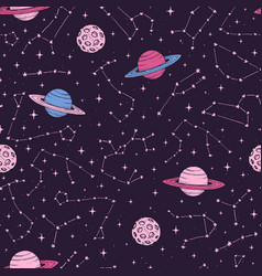 seamless pattern with constellations and planets vector image