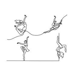 Set ballet dancer ballerina vector