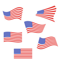 set of american flags us flags are flapping in vector image
