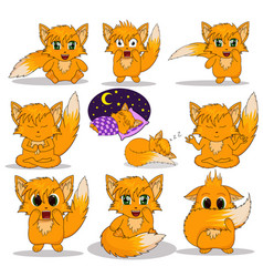 set of anime fox vector image