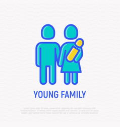 silhouette of young family man woman and newborn vector image