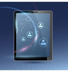Social communications via tablet device - network vector