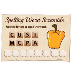 Spelling word scramble game with word capsicum vector