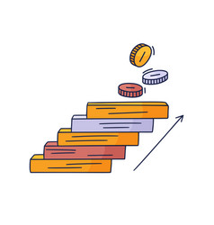 steps up to coin doodle drawn hand vector image
