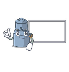 Thumbs up with board milk can character cartoon vector