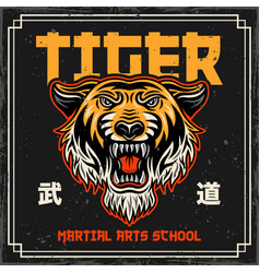 tiger head vintage colored poster in japan style vector image
